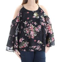 INC Womens Black Floral Bell Sleeve Scoop Neck Top  Size: M