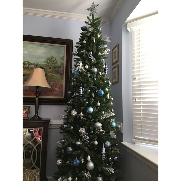 shop 75 ft grand fir pencil slim tree with clear lights on sale free shipping today overstockcom 10631532 - 75 Ft Slim Christmas Tree