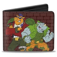 Rocksteady & Bebop Pose + Tmnt Logo Bricks Bi Fold Wallet - One Size Fits most