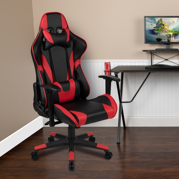 Racing Gaming Ergonomic Chair with Fully Reclining Back in Red LeatherSoft. Opens flyout.