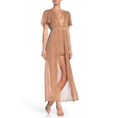 MATERIAL GIRL Brown Cap Sleeve Midi Dress M