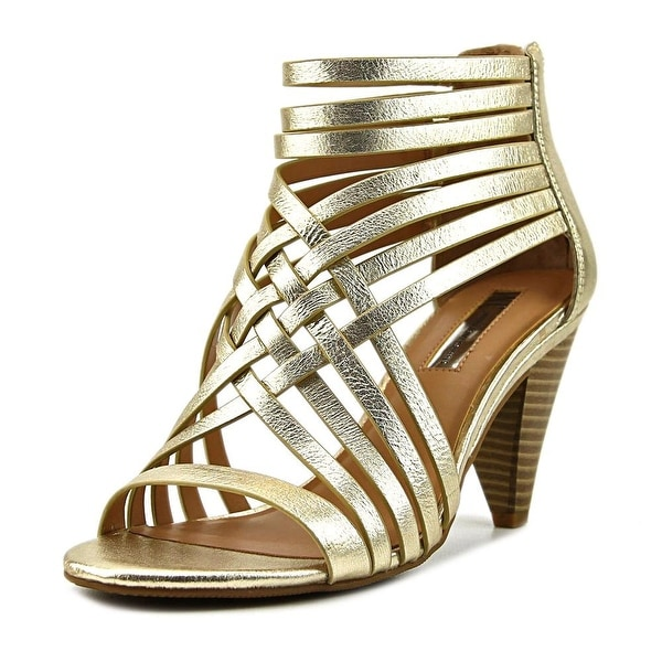 INC International Concepts Garoldd Women Open Toe Leather Gold Sandals