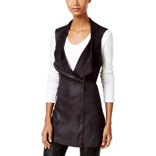 Calvin Klein Womens Casual Vest Distressed Faux Suede