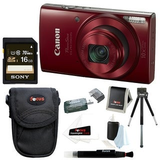Canon PowerShot ELPH 190 IS 20 MP Digital Camera (Red) w/ 16GB Accessory Bundle