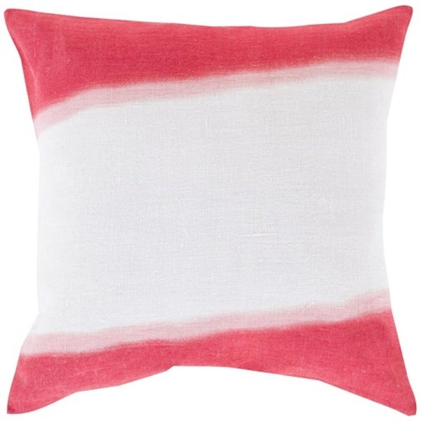 "18"" Hot Pink and White Double Dip Decorative Throw Pillow - Down Filler"