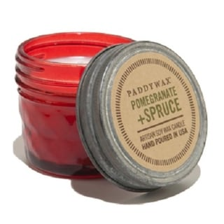 Paddywax Pomegranate and Spruce Soy Wax Scented Candle in Decorative Relish Jar 3 oz