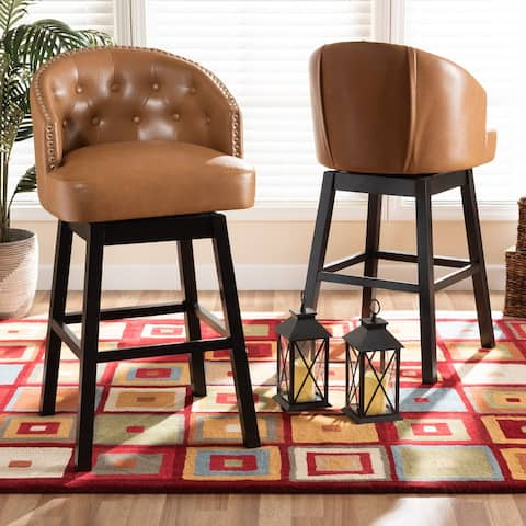 Theron Modern and Contemporary 2-Piece Swivel Bar Stool Set