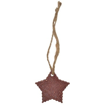 3D Western Ornament Christmas Rustic Star Twine Metal Ivory