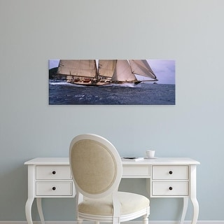 Easy Art Prints Panoramic Images's 'Sailboat in the sea, Schooner, Antigua, Antigua and Barbuda' Premium Canvas Art