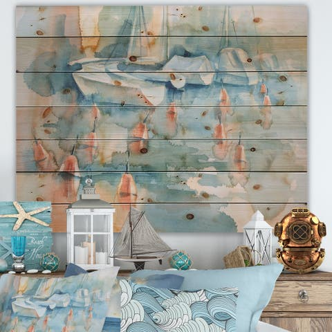 Designart 'Boats And Buoys In Blue Pastel Harbor' Traditional Print on Natural Pine Wood