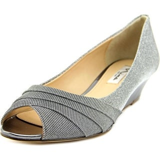 Nina Reba Women Open Toe Canvas Silver Wedge Heel