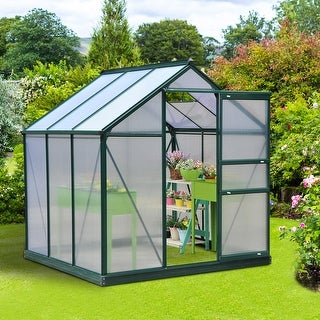 Link to Outsunny Polycarbonate Portable Walk-in Garden Greenhouse Similar Items in Yard Care