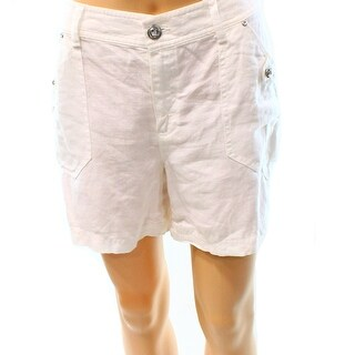 INC NEW Bright White Womens Size 6 Linen Rhinestone Solid Seamed Shorts