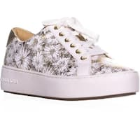 MICHAEL Michael Kors Poppy Lace Up Platform Sneakers, Optic White/Gold