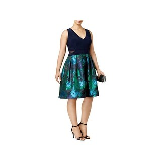 Xscape Womens Plus Party Dress Floral Brocade Mixed Media - 16W