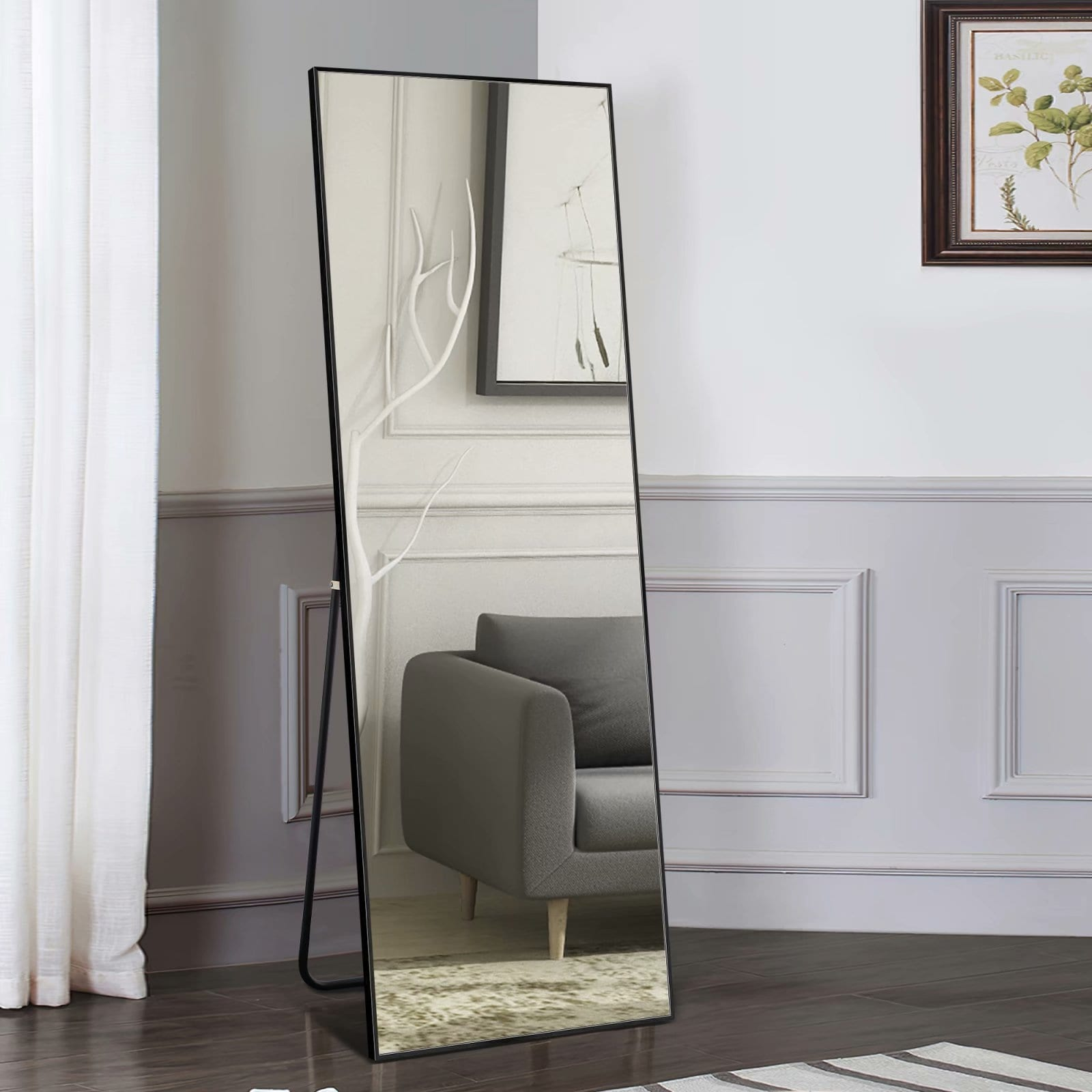 Shop Aluminum Alloy Full Length Mirror Floor Mirror With Standing 64x21 Overstock 31842220