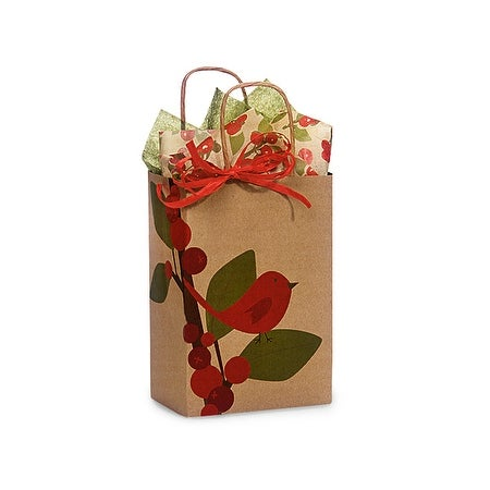 """Pack of 25, Rose Red Bird Berries 100% Recycled 5.5 X 3.25 X 8.5"""" For Christmas Packaging, Made In Usa."""