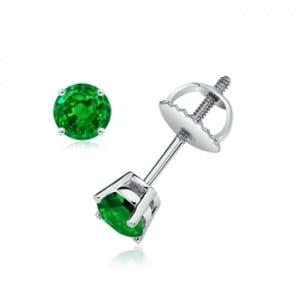 Angara Basket Set Round Genuine Emerald Stud Earrings