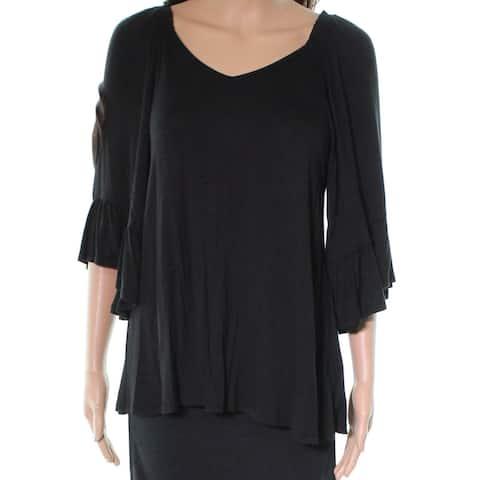 Bobeau Black Womens Size Large L Tie Back Flutter Sleeve Blouse