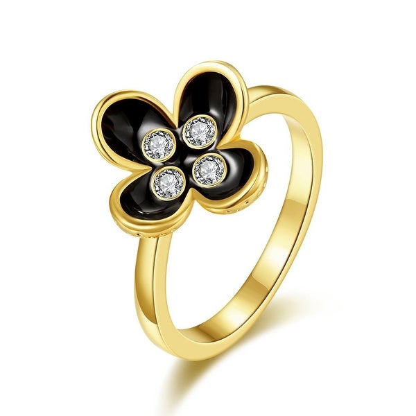Gold Plated Blossoming Onyx Floral Ring