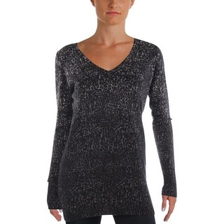 Private Label Womens V-Neck Sweater Cashmere Animal Print - l
