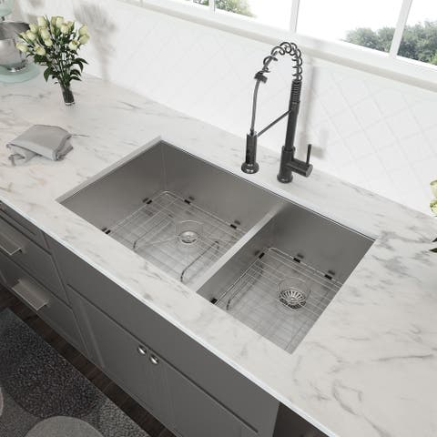 Low-Divide Undermount Double Bowl Stainless Steel Kitchen Sink