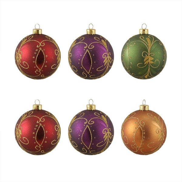 "6ct Glittered Earth Tone Fancy Shatterproof Christmas Ball Ornaments 3.25"" 80mm - multi"