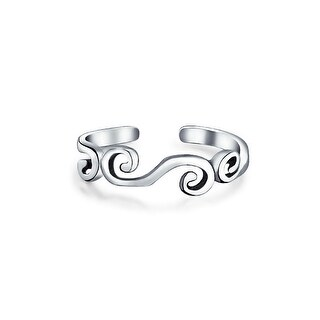 Sterling Silver Swirl Midi Ring Adjustable Scroll Toe Rings