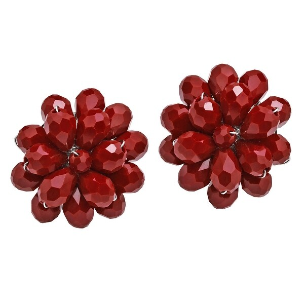 Handmade Dazzling Chrysanthemum Floral Crystal Clip On Earrings (Thailand). Opens flyout.