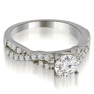 0.90 CT.TW Twisted Split Shank Round Cut Diamond Engagement Ring - White H-I
