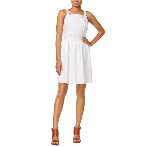 Maison Jules Laser Cut Fit Flare Sleeveless Dress Bright White