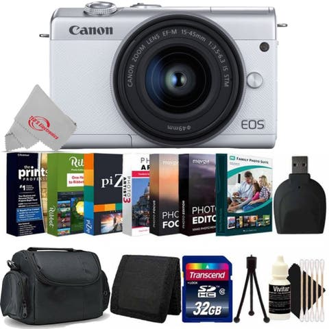 Canon EOS M200 Mirrorless Digital Camera White with 15-45mm Lens + 32GB Memory Card Bundle
