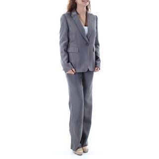 TAHARI $280 Womens New 1228 Gray Herringbone Straight leg Pant Suit 2 B+B