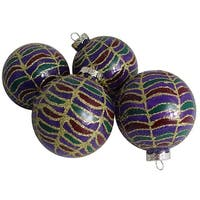 "Pack of 4 Lavish Regal Peacock Glittered Glass Ball Christmas Ornaments 2.5"" - multi"