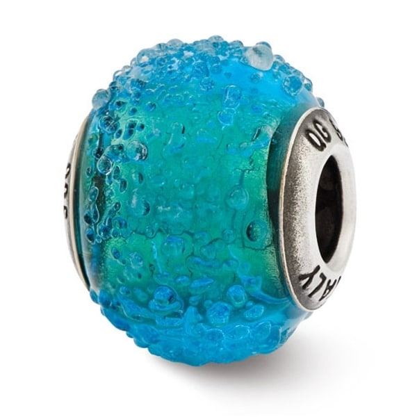 Italian Sterling Silver Reflections Blue & Green Textured Glass Bead (4mm Diameter Hole)