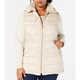 Link to Charter Club Womens Puffer Vest Beige 1X Plus Faux-Fur Collar Full Zip Similar Items in Women's Outerwear