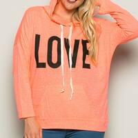 Love Neon Coral Hoodie Sweater Top