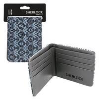 Sherlock Holmes Bi-Fold Wallet 221B Wallpaper (Teal) - Multi