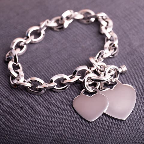 Miadora Sterling Silver Double Heart Link Charm Bracelet - 7.5 in x 46.5 mm - 7.5 in x 46.5 mm