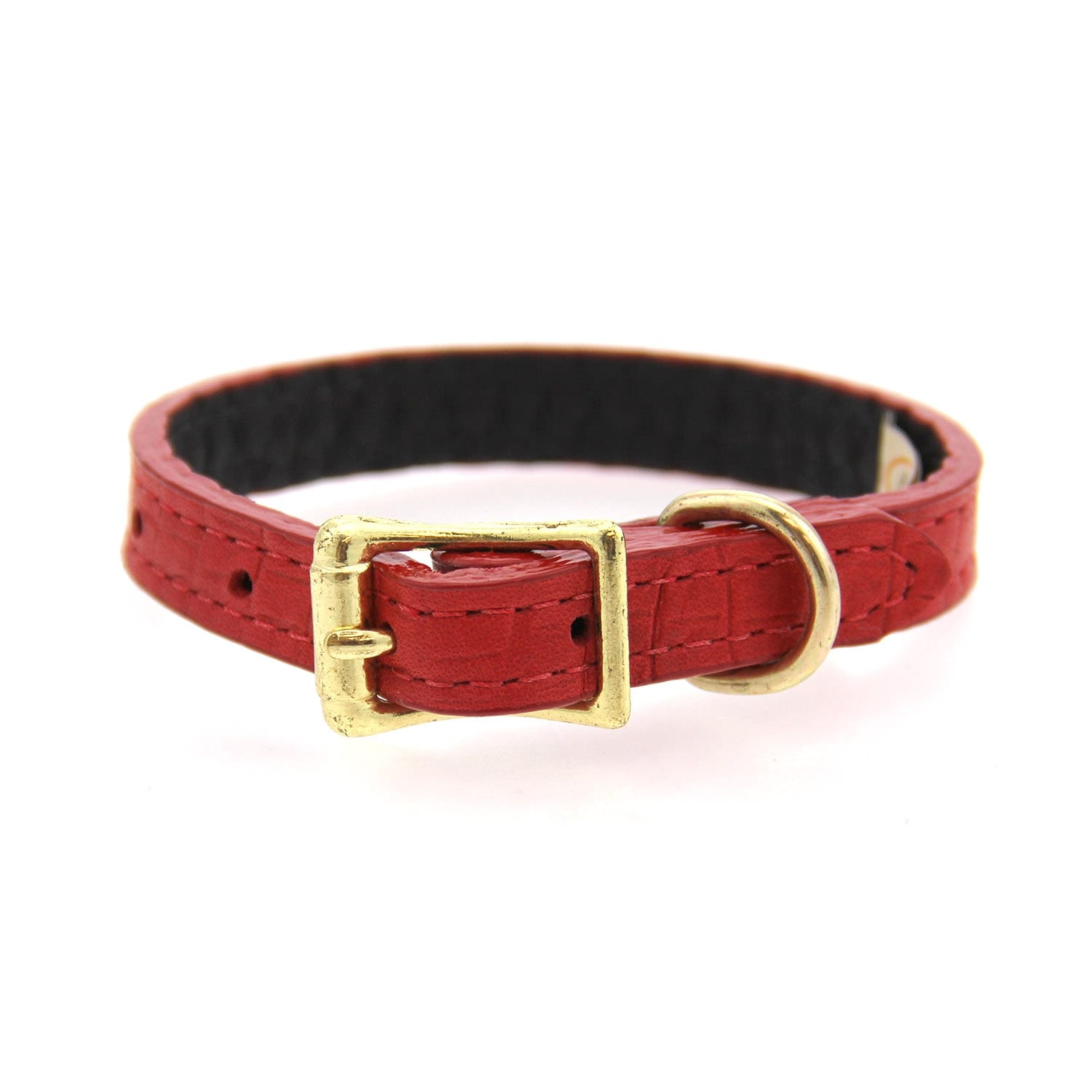 Savannah Leather Dog Collar by Auburn Leather - Lizard Red (Lizard Red - 1/2 Width x 8 Length)