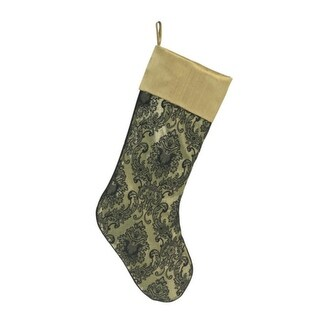 "20"" Elegant Black Damask Patterned Christmas Stocking with Gold Cuff"