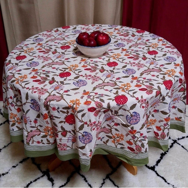 """Handmade Lively Floral Berry Print Cotton Tablecloth 70/"""" Round Multi Color"""