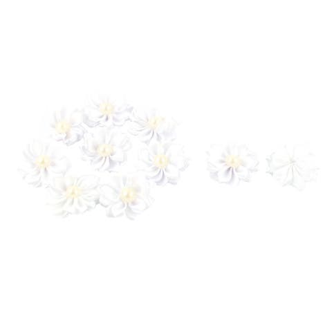 Satin Pearl Decor Wedding Ornament Appliques Ribbon Flower 10pcs - White