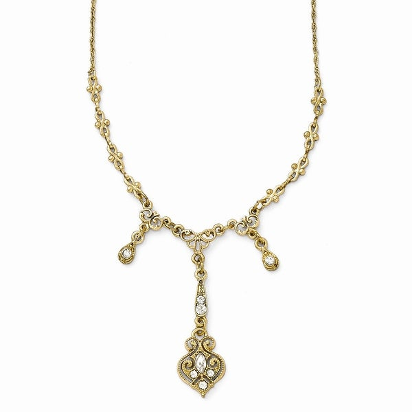 Goldtone Clear Glass Triple Drop Necklace - 16in