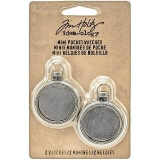 "Idea-Ology Mini Pocket Watch Frames 1"" 2/Pkg-Antique Nickel"