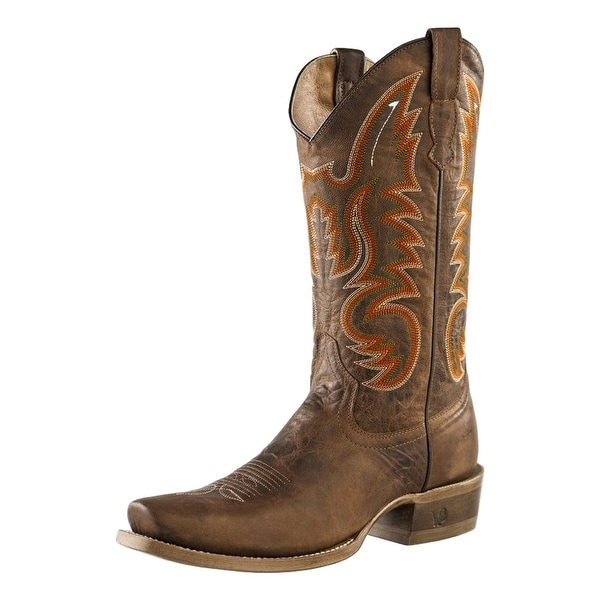 Outlaw Western Boots Mens Broad Square Toe Stitching Cognac