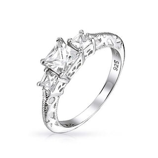 Link to Art Deco Style Filigree 3CT Round Solitaire 3 Stone Past Present Future Promise CZ Engagement Ring 925 Sterling Silver Similar Items in Rings
