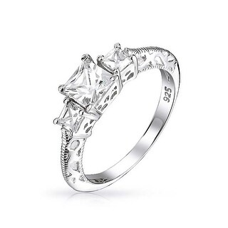 Bling Jewelry .925 Sterling Silver 3 Stone Princess Cut CZ Vintage Style Engagement Ring