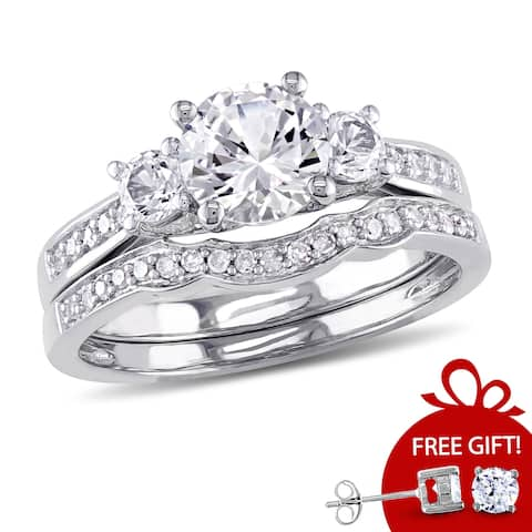 Miadora 10k White Gold Created White Sapphire and 1/6ct TDW Diamond 3-stone Bridal Ring Set (G-H, I2