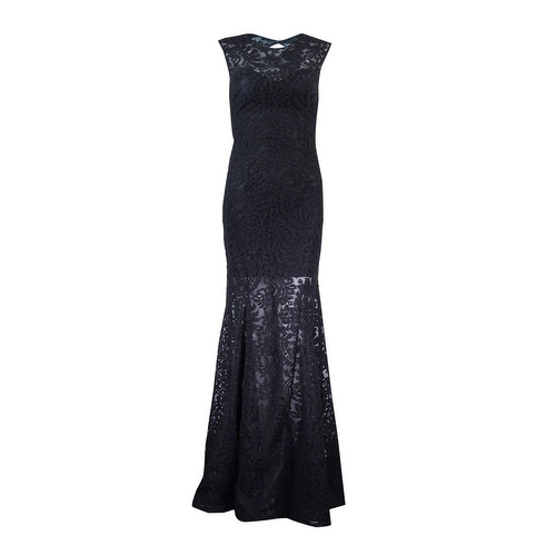Shop Betsy U0026 Adam Womenu0027s Open Back Lace Mermaid Gown   Black   On Sale    Free Shipping On Orders Over $45   Overstock.com   18302479